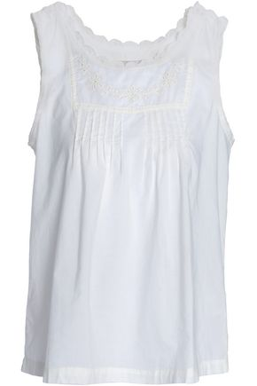 CURRENT/ELLIOTT Pintucked broderie anglaise cotton-voile blouse