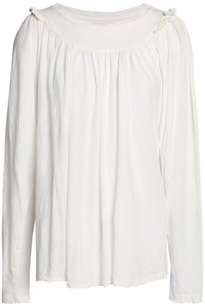 CURRENT/ELLIOTT Gathered cotton and linen-blend jersey top