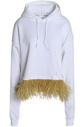 OPENING CEREMONY Faux feather-embellished mélange cotton-blend jersey hooded sweatshirt