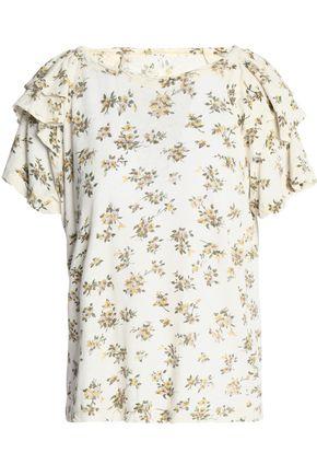 CURRENT/ELLIOTT Floral-print slub linen and cotton-blend jersey T-shirt