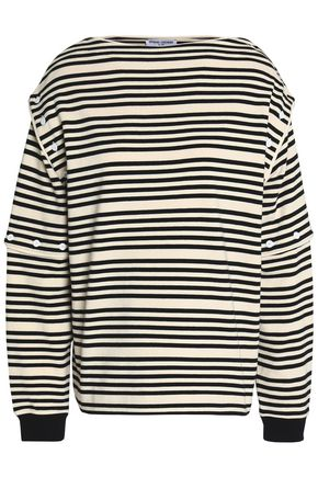 OPENING CEREMONY Button-detailed striped cotton-jersey top