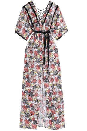 EMILIO PUCCI Lace up-embellished printed cotton-poplin dress