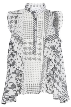 Morie Ruffled Printed Cotton Voile Top by Iro