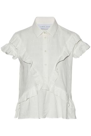 IRO Andrija ruffle-trimmed textured-cotton shirt