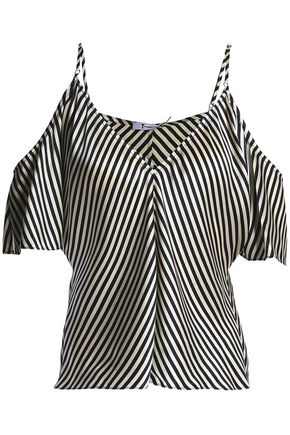 T by ALEXANDER WANG Cold-shoulder striped silk-satin top