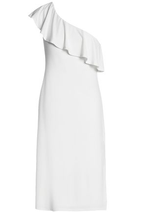 VELVET by GRAHAM & SPENCER One-shoulder ruffled stretch-jersey dress