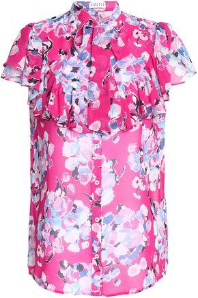 CLAUDIE PIERLOT Cachemire pussy-bow floral-print chiffon blouse