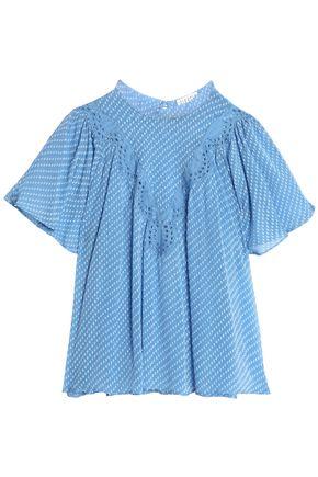 CLAUDIE PIERLOT Broderie anglaise-trimmed fil coupé silk-blend georgette blouse