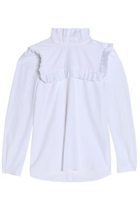 CLAUDIE PIERLOT Ruffle-trimmed cotton-poplin top