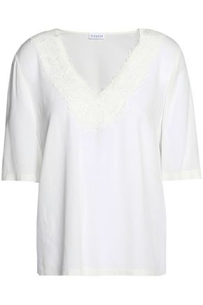 CLAUDIE PIERLOT Bavard lace-trimmed crepe de chine top