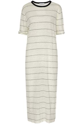 IRO Striped slub linen-jersey midi dress