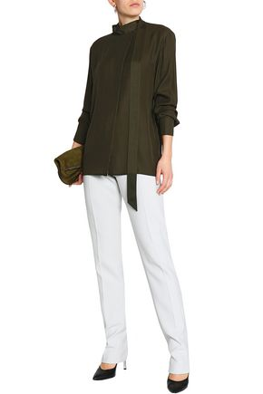 AMANDA WAKELEY Draped silk crepe de chine turtleneck blouse