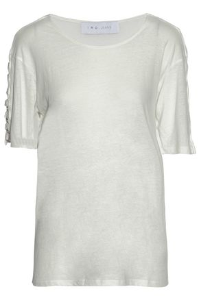 IRO Ring-embellished slub stretch-jersey top