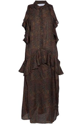 IRO Valerya ruffled zebra-print silk crepe de chine midi dress