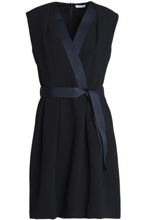 CLAUDIE PIERLOT Rank wrap-effect satin-trimmed crepe dress