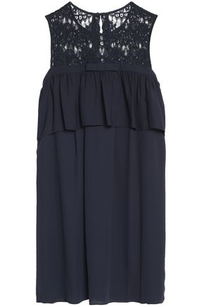CLAUDIE PIERLOT Lace-paneled layered crepe de chine mini dress