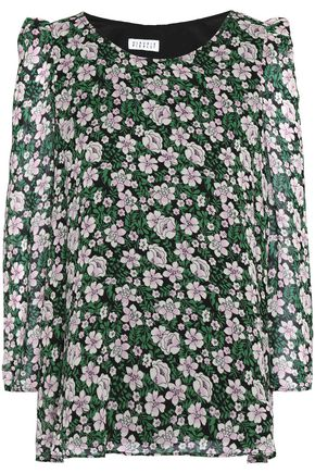 CLAUDIE PIERLOT Bow-detailed floral-print crepe blouse