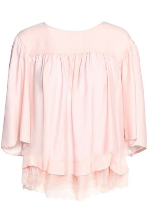 CLAUDIE PIERLOT Lace-trimmed crepe de chine blouse