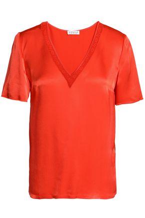 CLAUDIE PIERLOT Lace-trimmed satin T-shirt