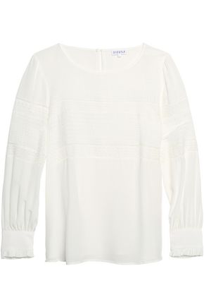 CLAUDIE PIERLOT Lace-paneled crepe de chine top