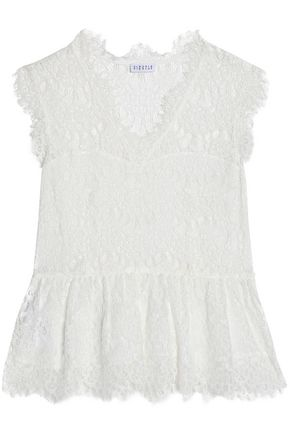 CLAUDIE PIERLOT Bobby cotton-blend corded lace peplum top
