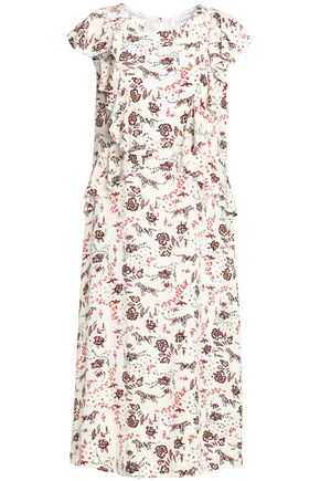 CLAUDIE PIERLOT Ruffled printed crepe de chine dress