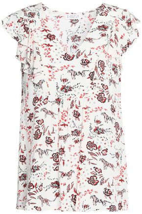 CLAUDIE PIERLOT Ruffle-trimmed printed crepe de chine top