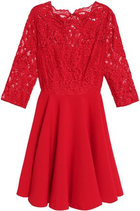 CLAUDIE PIERLOT Corded lace-paneled crepe dress