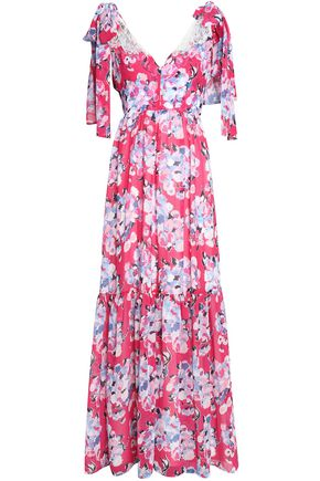 CLAUDIE PIERLOT Rosace lace-paneled floral-print chiffon maxi dress