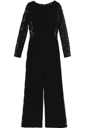 AMANDA WAKELEY Guipure lace-paneled flared cady jumpsuit