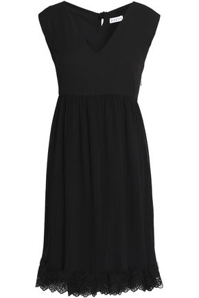 CLAUDIE PIERLOT Remember Me lace-trimmed pleated crepe dress