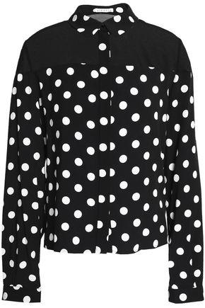 CLAUDIE PIERLOT Chiffon-paneled polka-dot crepe blouse