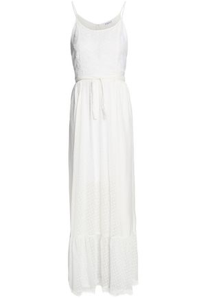 CLAUDIE PIERLOT Rosee lace-trimmed fil coupé chiffon and seersucker maxi dress