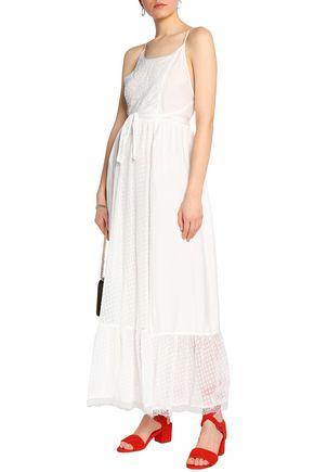 CLAUDIE PIERLOT Rosee lace-trimmed fil coupé chiffon and seersucker maxi dress