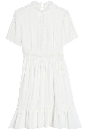 CLAUDIE PIERLOT Crochet-trimmed cutout crinkled-gauze dress