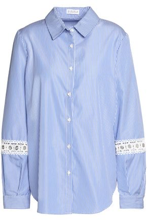 CLAUDIE PIERLOT Guipure lace-trimmed striped cotton-poplin shirt