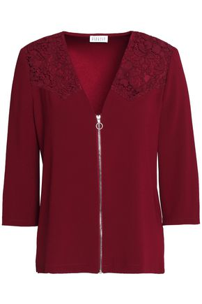 CLAUDIE PIERLOT Zip-front corded lace-paneled crepe top