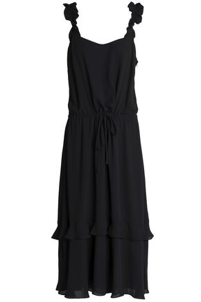 CLAUDIE PIERLOT Riviere ruffle-trimmed crepe de chine midi dress