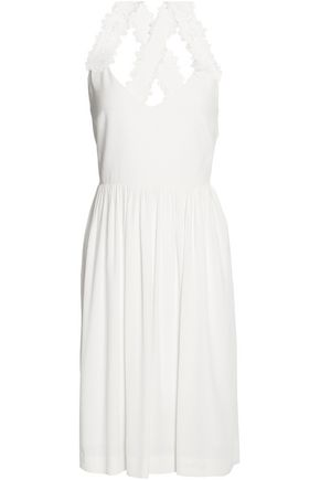 CLAUDIE PIERLOT Guipure lace-trimmed cutout crepe dress