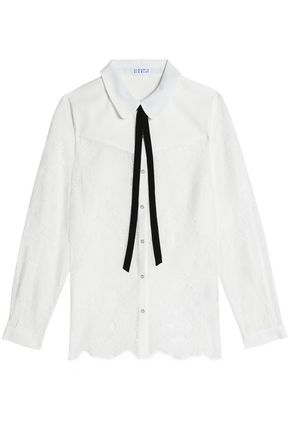 CLAUDIE PIERLOT Pussy-bow crepe-paneled corded lace blouse