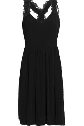 CLAUDIE PIERLOT Guipure lace-trimmed cutout crepe dress
