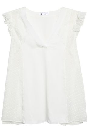CLAUDIE PIERLOT Ruffled lace-trimmed fil coupé and textured-satin top