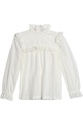 CLAUDIE PIERLOT Ruffled broderie anglaise cotton blouse