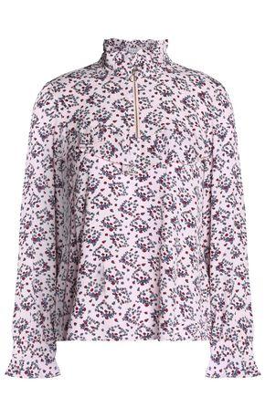 CLAUDIE PIERLOT Ruffled floral-print crepe de chine blouse