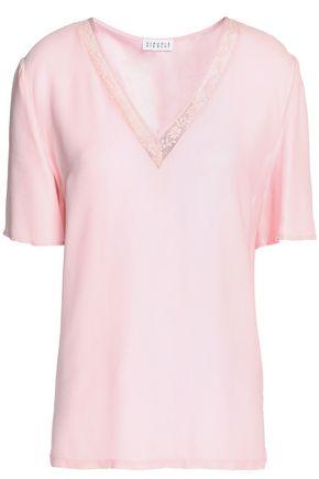 Lace Trimmed Satin T Shirt by Claudie Pierlot