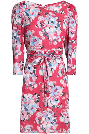 CLAUDIE PIERLOT Belted floral-print georgette mini dress