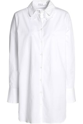CLAUDIE PIERLOT Embroidered lace-trimmed cotton-poplin shirt