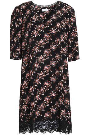 CLAUDIE PIERLOT Lace-trimmed floral-print crepe mini dress