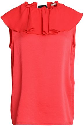 MAJE Gathered ruffled crepe de chine top