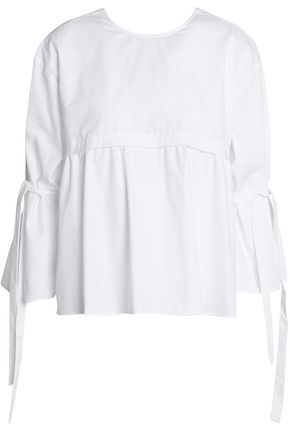 MAJE Cropped pleated cotton-poplin peplum top